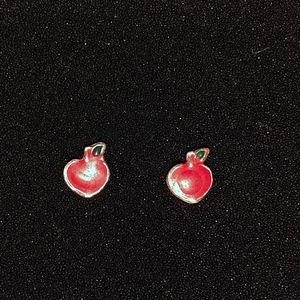 Gold Plated Red Apple Vintage Earrings